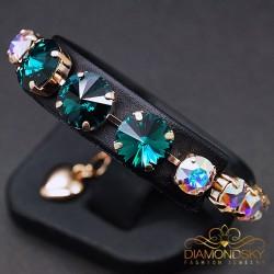 "Aproce ""Vorteks II (Emerald, Aurore Boreale)"" ar Swarovski™ kristāliem"