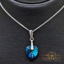 """Sudraba kulons """"Iemīlējusies Sirds II (Bermuda Blue)"""" ar Swarovski™ kristāliem"""