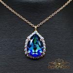 "Kulons ""Debesu Piliens III (Bermuda Blue)"" ar Swarovski™ kristāliem"