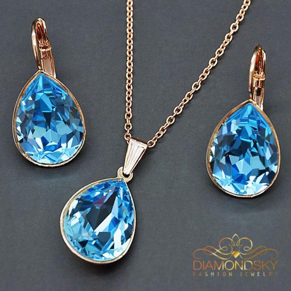 """Komplekts """"Kristāla Lāse II (Aquamarine Blue)"""" ar Swarovski™ kristāliem"""