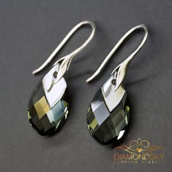 "Sudraba auskari ""Baroka II (Black Diamond Light Chrome)"" ar Swarovski™ kristāliem"