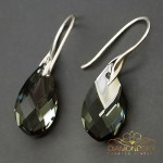 "Sudraba auskari ""Baroka II (Black Diamond Light Chrome)"" ar Swarovski™ kristāliem"