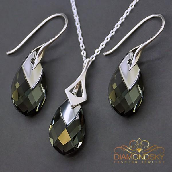 "Sudraba komplekts ""Baroka II (Black Diamond Light Chrome)"" ar Swarovski™ kristāliem"