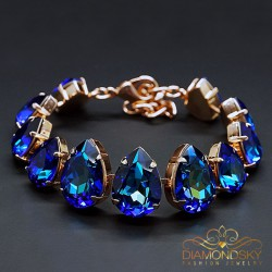 "Aproce ""Kristāla Lāse II (Bermuda Blue)"" ar Swarovski™ kristāliem"