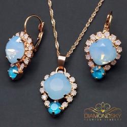 "Komplekts ""Dīva II (Air Blue Opal)"" ar Swarovski™ kristāliem"