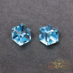 "Sudraba auskari ""Rubikona II (Aquamarine Blue)"" ar Swarovski™ kristāliem"