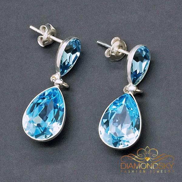 "Sudraba auskari ""Rasas Lāse II (Aquamarine Blue)"" ar Swarovski™ kristāliem"