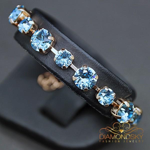 "Aproce ""Klasika IV (Aquamarine Blue)"" ar Swarovski™ kristāliem"