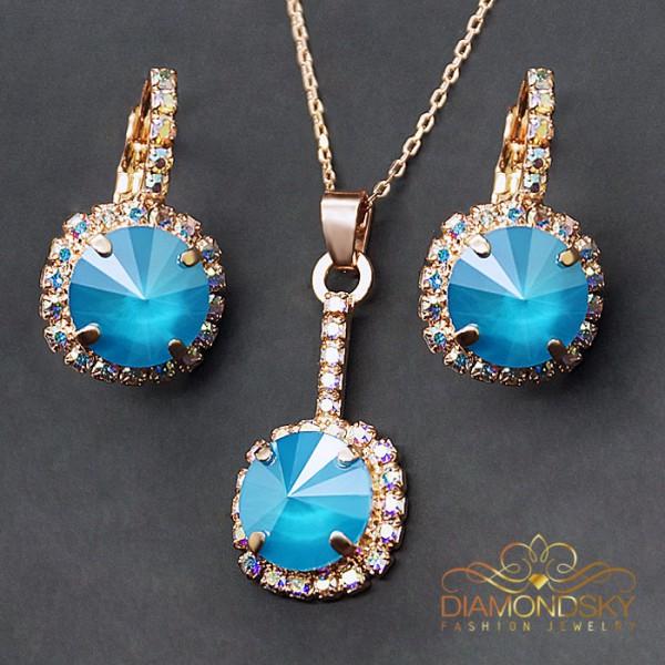 """Komplekts """"Klaris VII (Azure Blue)"""" ar Swarovski™ kristāliem"""
