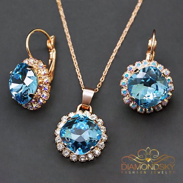 """Komplekts """"Apžilbinošs Spīdums III (Aquamarine Blue)"""" ar Swarovski™ kristāliem"""