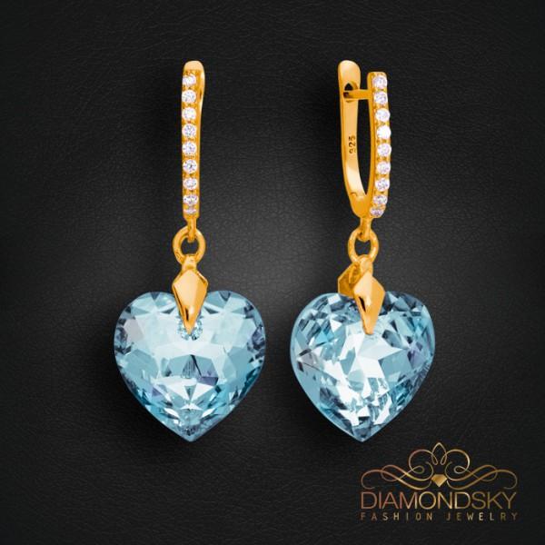 """Sudraba auskari """"Iemīlējusies Sirds III (Aquamarine Blue)"""" ar Swarovski™ kristāliem"""