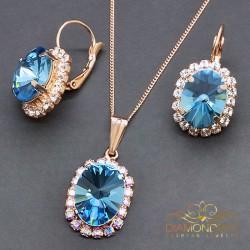 """Komplekts """"Klaris VIII (Aquamarine Blue)"""" ar Swarovski™ kristāliem"""