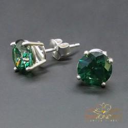 "Sudraba auskari ""Junona (Green)"" ar Swarovski Zirconia Pure Brilliance kristāliem"