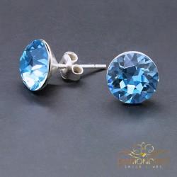 "Sudraba auskari ""Klasika (Aquamarine Blue)"" ar Swarovski™ kristāliem"