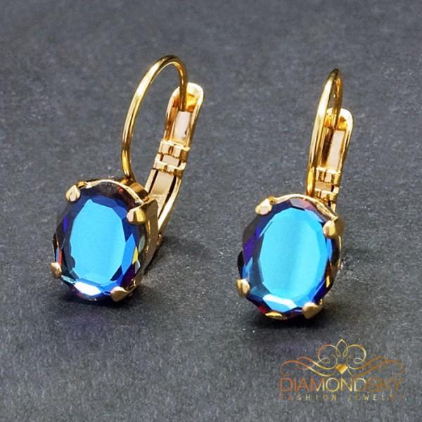 "Auskari ""Baroka Spogulis (Meridian Blue)"" ar Swarovski™ kristāliem"