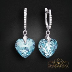 """Sudraba auskari """"Iemīlējusies Sirds III R (Aquamarine Blue)"""" ar Swarovski™ kristāliem"""