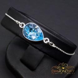 """Sudraba rokassprādze """"Šampanieša Lāses (Aquamarine Blue)"""" no 925 proves sudraba"""