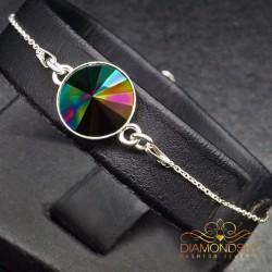 """Sudraba rokassprādze """"Fantāzija (Rainbow Dark)"""" no 925 proves sudraba"""