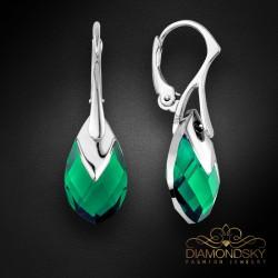 "Sudraba auskari ""Baroka II (Emerald Light Chrome)"" ar Swarovski™ kristāliem"