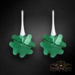 """Sudraba auskari """"Āboliņš (Emerald)"""" ar Swarovski™ kristāliem"""