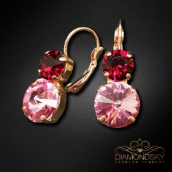 "Auskari ""Klaris VIII (Light Rose / Ruby)"" ar Swarovski™ kristāliem"