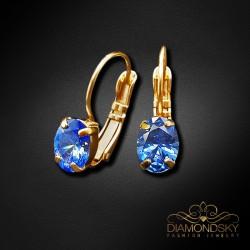 """Auskari """"Baroka Spogulis II (Fancy Blue)"""" ar Swarovski Zirconia Pure Brilliance kristāliem"""