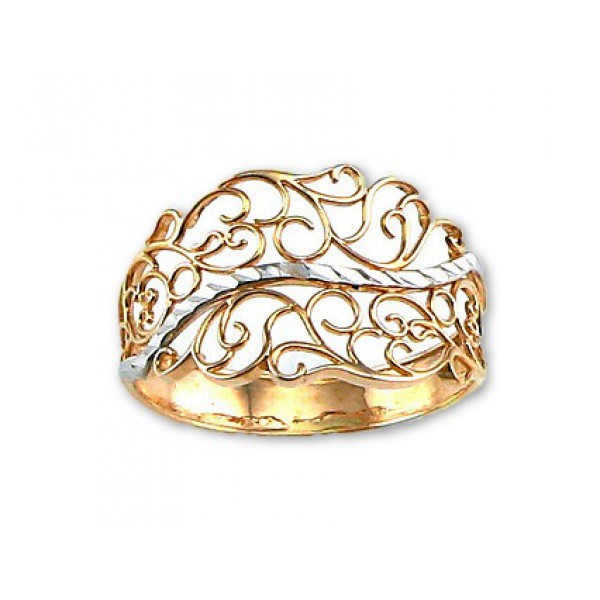 """Zelta gredzens """"Versaļa"""" no 585 proves sarkanā zelta"""