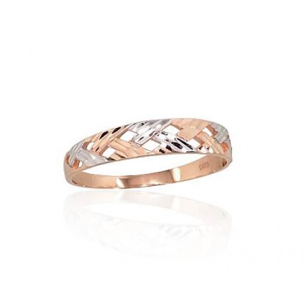 """Zelta gredzens """"Dimanta šķautnes II"""" no 585 proves sarkanā zelta"""