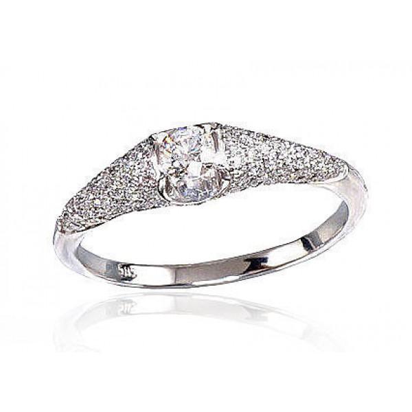 """Zelta gredzens ar briljantiem """"Debesu Velte"""" no 585 proves baltā zelta"""