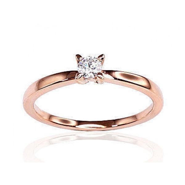 "Zelta gredzens ar briljantiem ""Solitire VIII"" no 585 proves sarkanā zelta"