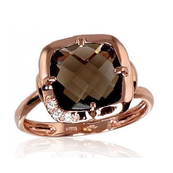 """Zelta gredzens ar dūmakaino kvarcu """"Sicīlija II"""" no 585 proves sarkanā zelta"""