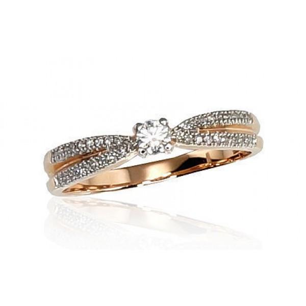 """Zelta gredzens ar briljantiem """"Džoanna IX"""" no 585 proves sarkanā zelta"""