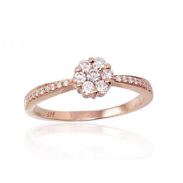 """Zelta gredzens ar briljantiem """"Dimanta Zieds III"""" no 585 proves sarkanā zelta"""