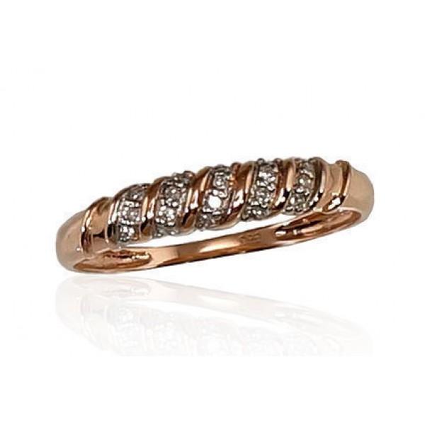 "Zelta gredzens ar briljantiem ""Babilona VIII"" no 585 proves sarkanā zelta"