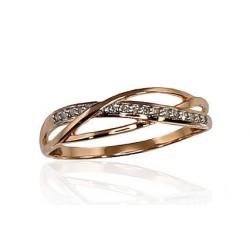 "Zelta gredzens ar briljantiem ""Zelta Raksts VI"" no 585 proves sarkanā zelta"