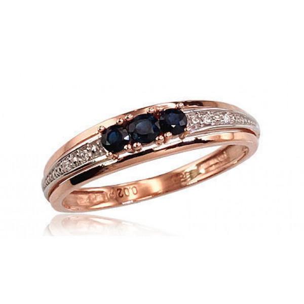 """Zelta gredzens ar briljantiem """"Džoanna VI"""" no 585 proves sarkanā zelta"""
