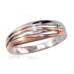 "Zelta gredzens ar briljantiem ""Tokija III"" no 585 proves sarkanā zelta"