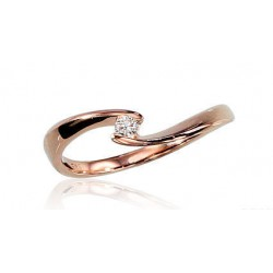 """Zelta gredzens ar briljantiem """"Komēta IV"""" no 585 proves sarkanā zelta"""