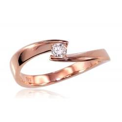 """Zelta gredzens ar briljantiem """"Komēta VI"""" no 585 proves sarkanā zelta"""