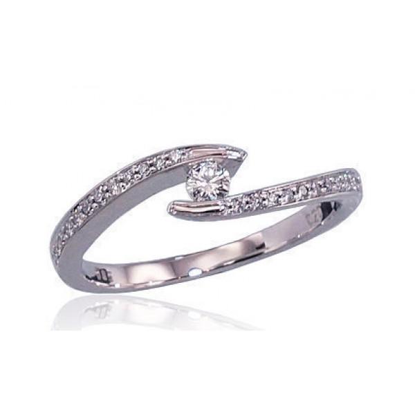 """Zelta gredzens ar briljantiem """"Komēta III"""" no 585 proves baltā zelta"""