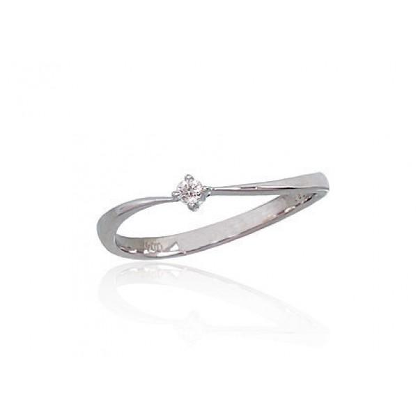 """Zelta gredzens ar briljantiem """"Komēta II"""" no 585 proves baltā zelta"""