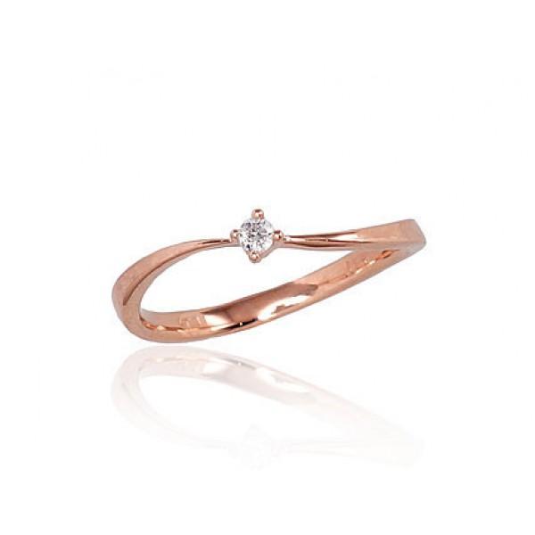 """Zelta gredzens ar briljantiem """"Komēta III"""" no 585 proves sarkanā zelta"""