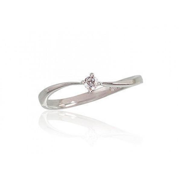 """Zelta gredzens ar briljantiem """"Komēta"""" no 585 proves baltā zelta"""