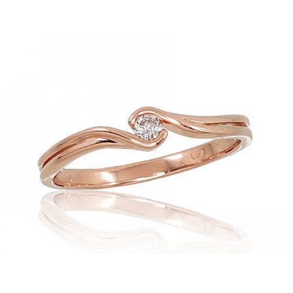 """Zelta gredzens ar briljantiem """"Komēta VII"""" no 585 proves sarkanā zelta"""