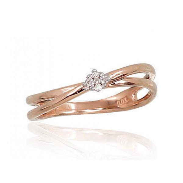 """Zelta gredzens ar briljantiem """"Grācija VII"""" no 585 proves sarkanā zelta"""