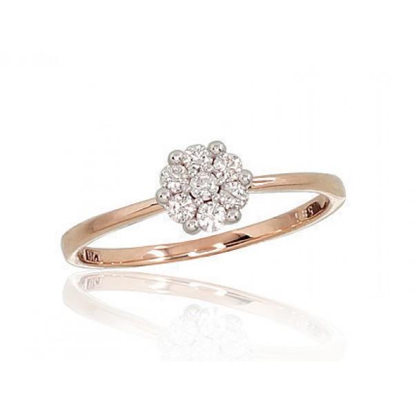 """Zelta gredzens ar briljantiem """"Dimanta Zieds II"""" no 585 proves sarkanā zelta"""
