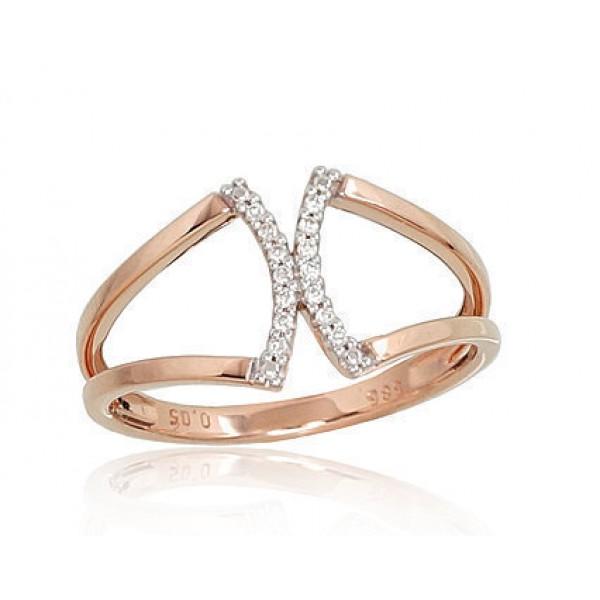 "Zelta gredzens ar briljantiem ""Dolce II"" no 585 proves sarkanā zelta"