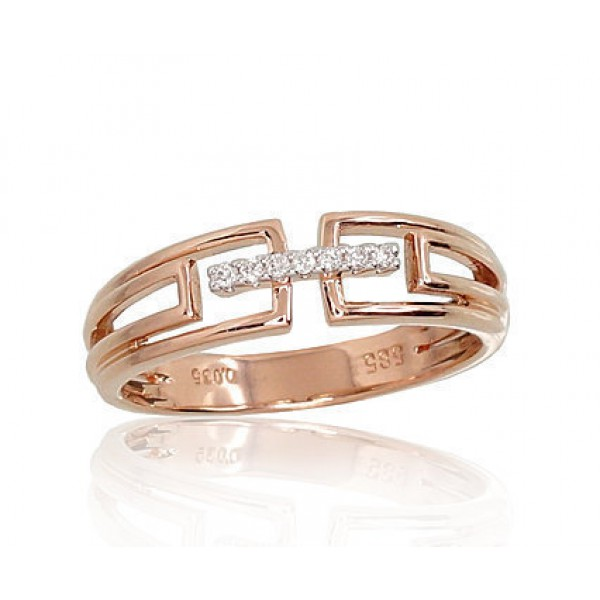 "Zelta gredzens ar briljantiem ""Dolce"" no 585 proves sarkanā zelta"