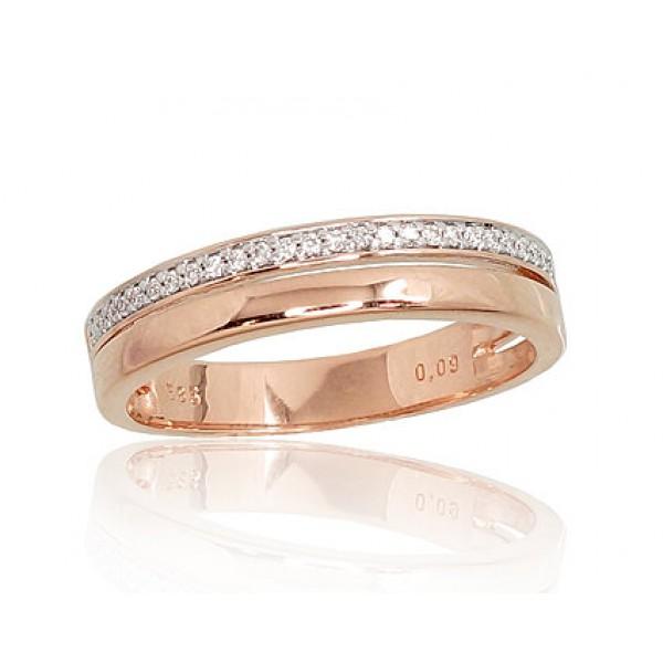 """Zelta gredzens ar briljantiem """"Ilifia II"""" no 585 proves sarkanā zelta"""