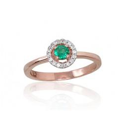 """Zelta gredzens ar briljantiem """"Burvība VIII"""" no 585 proves sarkanā zelta"""